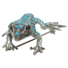 Sterling Silver Turquoise Embellished Frog Brooch