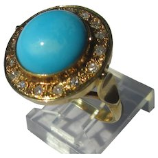 9kt Yellow Gold Sky Blue Turquoise and Multi Diamond Ladies Ring