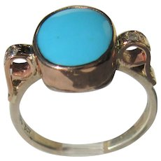 Sterling Silver and 9 kt  Pink Gold Oval Turquoise and Diamond Ladies Ring