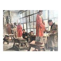 Oil on Panel 'Statue Decorators'