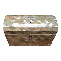 Masonic Religious Tea Caddy Mother of Pearl