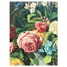 Pair Floral Paintings on Panel by Carl Frederik Aagaard