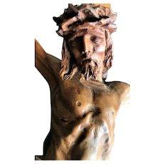 Crucifix, Carved Boxwood on Black Slate