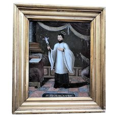 Oil on Glass, Reverse painted, St. Francis