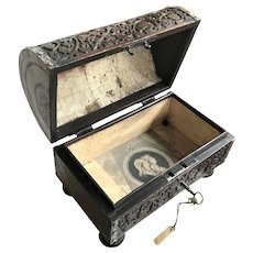 Renaissance Footed Jewelry or Treasure Box, Dated 1605, Oak Carved