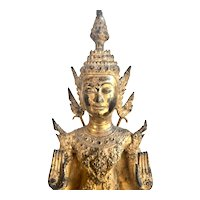 Gilt Bronze Crowned Buddha Pacifying the Ocean, 18th Century