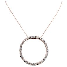 10K Rose Gold Diamond Eternity Pendant w/ Chain