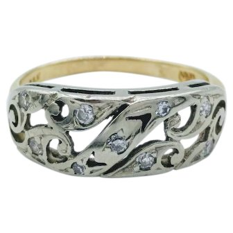 Antique Two-Tone 14K Gold Diamond Scroll Ring