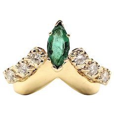 14K Gold Emerald & Diamond Collar Chevron Ring
