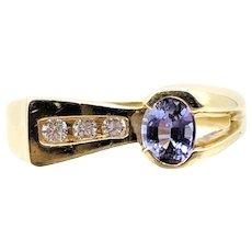 Exclamation Point Tanzanite & Diamond Asymmetrical Ring set in Yellow 18K Gold