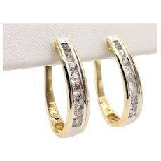 1.00 Carat TW Channel Set Diamond Hoop Earrings - White & Yellow 14K Gold
