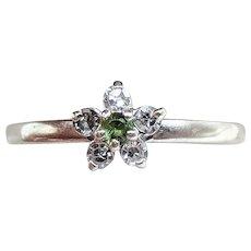 Handwrought 14K White Gold Demantoid Garnet & Diamond Ring
