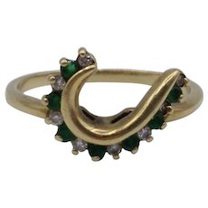 Emerald & Diamond Curve / Arc Jacket Ring for Solitaire in 14K Yellow Gold