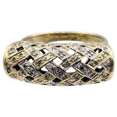 14K Yellow & White Gold Basket-weave Diamond Pave Ring