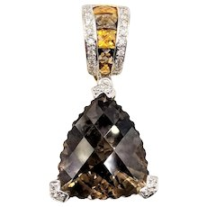 Designer Bellarri Smoky Quartz, Citrine & Diamond 18K Yellow Gold Pendant Slide Charm