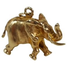 14K Yellow Gold 3D Elephant Charm Pendant