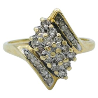 Diamond Cluster Ring set in 10K Yellow Gold
