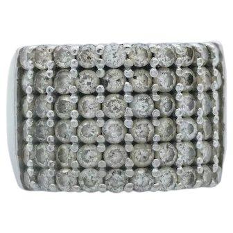 1.8 Carat Diamond Pave Large Ring set in 14K White Gold