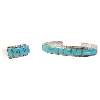 Vintage Sterling Silver Turquoise Ring/Bracelet Combo Linette Laiwakete