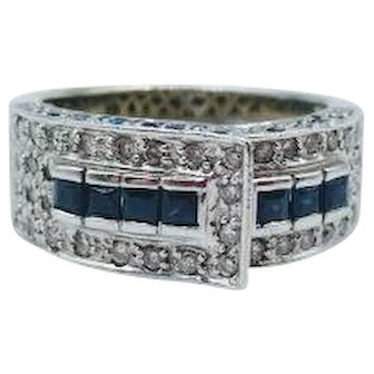 Stunning Blue Sapphire & Diamond Belt Ring set in 14K White Gold