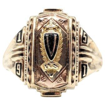 Jostens 1951 Class Ring V High School 5.6g 10k Yellow Gold Size 10.25