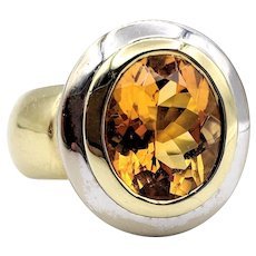 Large Citrine Ring With Two Tone 18K Gold