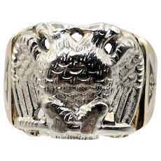 10K Gold Masonic 32nd Degree Double Headed Eagle Two-Tone Ring
