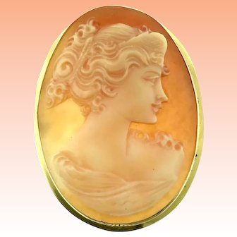 18kt Vintage Excellent Handmade Shell Cameo Raised Profile Brooch Pendant