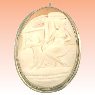Antique 800 Silver Scenic Shell Cameo Woman and Angel