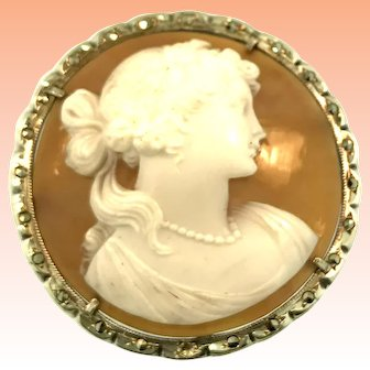 Vintage Retro 800 Silver Hand Carved Cameo with Marcasite in Silver Detail Unusual Coloring