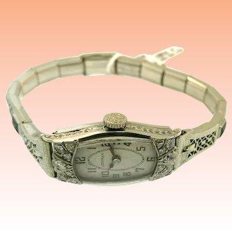 Vintage 18kt White Gold Diamond Filigree Lady's Lehman Wristwatch