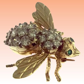 Vintage 14kt Yellow Gold 2.4 carat Diamond and Emerald Bee Brooch
