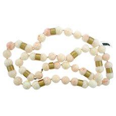 14kt Vintage Angel Skin Coral Long Bead Strand Necklace
