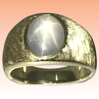 Vintage 18kt Yellow Gold Blue Gray Star Sapphire Ring Florentine Finish Size 7.5 Sizeable