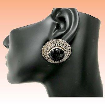 Vintage Circle Suarti Bali Detailed Onyx Stud Earrings.