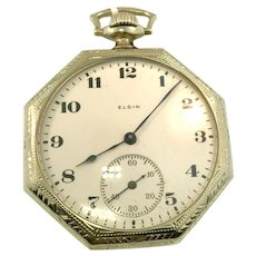 14kt white gold 1920's Vintage Elgin Pocket 7 Jewel Pendant Watch