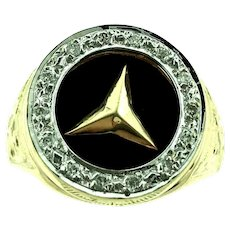 Vintage 14kt yellow gold diamond and Onyx Mercedes Logo Spinner Men's ring