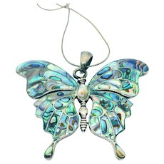 Vintage 925 Sterling Silver Abalone Shell Butterfly Pendant Necklace, Large Size