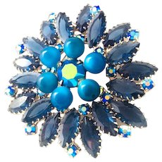 Vintage Brooch Blue Moonstone and Navette Rhinestone Open Back And AB Flower