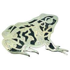 Vintage Sterling Silver 925 Damascene Frog Brooch Pin Handmade Artist