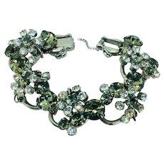 Vintage 5 Link Rhinestone Bracelet Chunky Juliana DeLizza Elster 2 Dimensional Chunky Bridal
