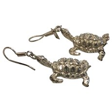 Vintage Sterling Silver 925 Turtle Earrings Taxco Mexico