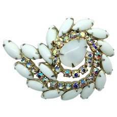 Stunning Vintage Swirling Brooch White Moonstone Milk Glass and AB Rhinestones