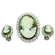 Vintage Cameo Intaglio Green Tortoise Shell And Rhinestones Pendant Clip Earrings Brooch