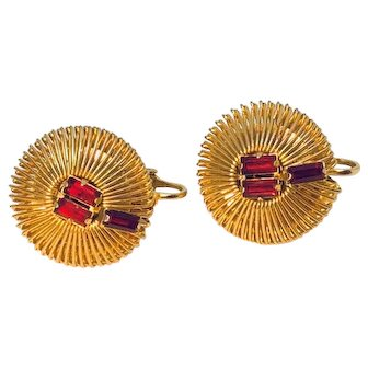 Vintage Weiss Clip Earrings Ruby Color Red Rhinestones On Gold colored Looped Metal Stunning