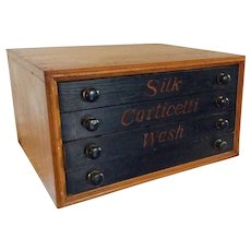 Vintage Corticelli Silk Washed 4 Drawer Thread Spool Chest Cabinet Retail Display Solid Wood