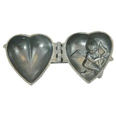 Antique Ice Cream Mold Mould Chocolate or Candy too, Intricate Cupid Heart  S & Co 1800s