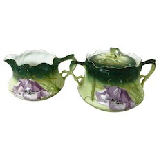 Cream & Sugar Exquisitely Hand Painted Germany Rosenthal BRC 1897-1903 Violets