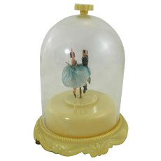 Dancing Couple Ballerina Dome Music Box Automation Mechanical Works Great