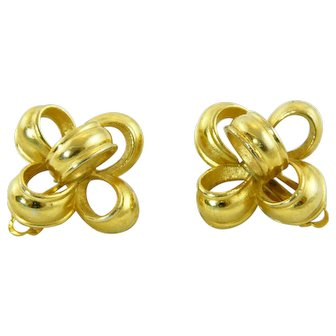 Fabulous Signed Designer Givenchy Clip Earrings Gold Colored Dimensional 3-D Ribbons and Bows